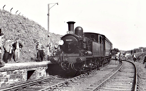 RAIL TOUR - 'BRUNEL CENTENARIAN & PLYMOUTH DISTRICT' - organised and run by the RCTS on May 2nd, 1959 . 30182 is seen here on the Plymstock - Turnchapel Tunnel and Return leg of the tour. The tour ran as follows:-  Brunel Centenarian - 7001 - London Paddington - Slough - Reading - Southcote Jn - Newbury - Castle Cary - Taunton - Exeter St Davids - Newton Abbot - Totnes - Plymouth North Road - Saltash Plymouth District - 6420 - Saltash - St Budeaux - (via LSWR connection) - Devonport - Devonport Jn - Millbay - Plymouth - Lipson Jn - Plymouth Friary - Plymstock Plymouth District - 30182 - Plymstock - Turnchapel Tunnel - Plymstock Plymouth District - 6420 - Plymstock - Yealmpton - Plymstock - Plymouth Friary - Mount Gould Jn - Laira Jn - Plymouth North Road Brunel Centenarian - 5069 - Plymouth North Road - (reverse of outward route) - London Paddington