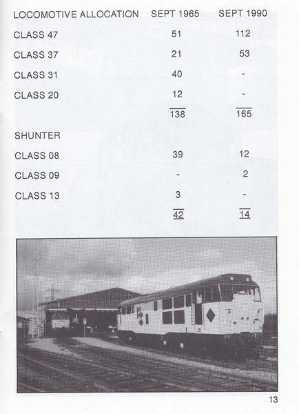 OPEN DAY - TINSLEY DIESEL DEPOT, 1990 (4) - Open Day held on Saturday, September 29th, 1990, to celebrate the Depot's Silver Jubilee. The depot closed in 1998. Comparison of allocations by class in 1965 and 1990.