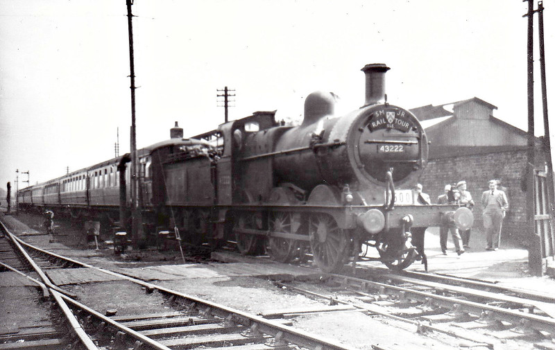 RAIL TOUR - 'SMJR RAIL TOUR' - organised by the Stephenson Locomotive Society and run on April 29th, 1956. 43222 is seen here at Stratford on Avon (SMJR). The tour ran as follows:-<br /> <br /> 62605 - London Kings Cross - Hertford North - Hitchin<br /> 43222 - Hitchin - Bedford - Olney - Stoke Bruerne - Towcester - Moreton Pinkney - Byfield - Kineton - Stratford (SMJ) - Binton - Broom Jn East - Broom Jn North - Alcester - Coughton - Redditch - Barnt Green - Selly Oak - Birmingham New Street<br /> 73099 - Birmingham New Street -Canley - Coventry - Kenilworth - Leamington Spa - Morton Jn - Dunchurch - Rugby Midland - Weedon - Bletchley - Watford Junction - London Euston