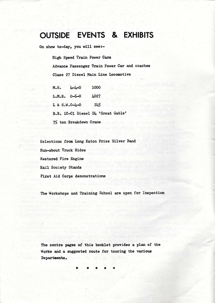 OPEN DAY - DERBY WORKS, 1982 (2) - Programme of events for the 36th Horticultural Show and Open Day, September 4th, 1982.