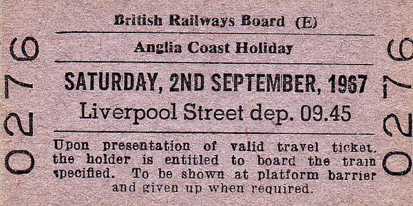 SPECIAL TRAIN - 'ANGLIA COAST HOLIDAY' - Run on September 2nd, 1967, these trains were regular feature of Summer Saturdays right up until the early 1990's. This one ran from Liverpool Street, probably to Yarmouth but maybe to Clacton or Hunstanton along with many others from the Midlands to East Coast resorts, the North West and to the South West. They were all timed to arrive around the middle of the day and would take one lot of holidaymakers in and bring last week's home.