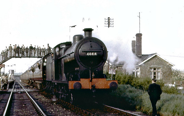 RAIL TOUR - 'JOINT LINE RAIL TOUR' - organised by RCTS and run on May 18th, 1963. 44414 is seen here at Seaton Junction  on the rear of the train about to run to Uppingham. The tour ran as follows:-  45238 - Nottingham London Road (LL) - Netherfield - Bottesford West Jn - Bottesford South Jn - Stathern Jn - Scalford - Melton Mowbray (Joint) - Great Dalby - John O'Gaunt - Marefield North Jn - Marefield West Jn - Leicester East Jn - Leicester Belgrave Road - Leicester East Jn - Marefield West Jn - Marefield North Jn - John O'Gaunt - Marefield North Jn - Marefield South Jn - East Norton - Welham Jn - Great Bowden Jn - Market Harborough 42087 - Market Harborough - Welham Jn - Rockingham - Seaton 42087 t+t 44414 - Seaton - Uppingham 44414 t+t 42087 - Uppingham - Seaton 45238/42087 - Seaton - Luffenham 42087/45238 - Luffenham - Manton - Oakham - Ashwell Branch Jn 42087 t+t 45238 - Ashwell Branch Jn - Cottesmore Quarry GF 45238 t+t 42087 - Cottesmore Quarry GF - Ashwell Branch Jn 45238 - Ashwell Branch Jn - Saxby - Melton Mowbray - Old Dalby - Widmerpool - Edwalton - London Road Jn - Nottingham Midland
