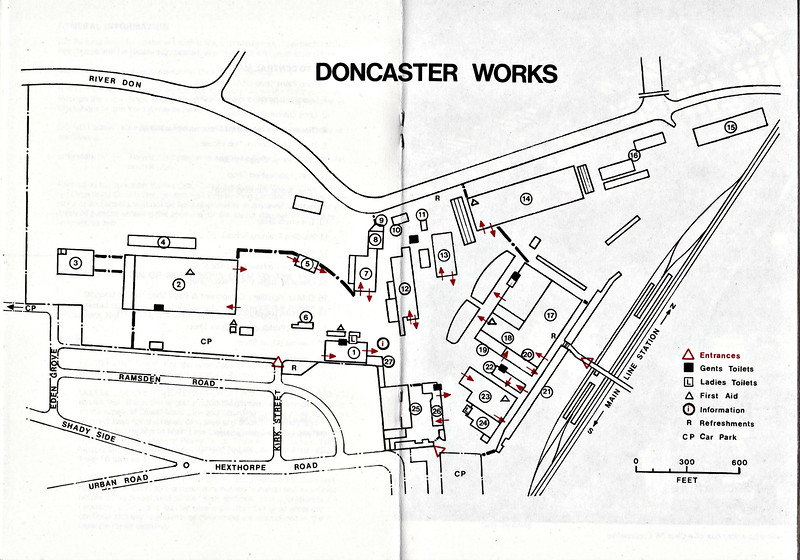 OPEN DAY - DONCASTER WORKS, 1978 (3) - Open weekend held on June 17/18th, 1978 to celebrate the 125th anniversary of Doncaster Works. Plan of the Works as it was in 1975. The key is as follows:-<br /> <br />  1 Loco Paint Shop<br />  2 Diesel Locomotive Repair Shops<br />  3 Loco Dismantling Shop<br />  4 Diesel Loco Component Store<br />  5 Diesel Loco Test House<br />  6 Loco Weigh House<br />  7 Light Fabrication Shop<br />  8 Sheet Metal Working Shop<br />  9 Battery Shop<br /> 10 Trimmers Shop<br /> 11Welding Training School<br /> 12 Heavy Fabrication Shop<br /> 13 Loco New Build Shop<br /> 14 DMU Repair Shop<br /> 15 DMU Auxiliary Component & Paint Shop<br /> 16 Asbestos Insulation Removal Shops<br /> 17 Wagon Building & Repair Shop<br /> 18 Central Wheel Shop<br /> 19 Joiners Shop<br /> 20 Smiths Shop<br /> 21 Admin Block and Drawing Offices<br /> 22 Apprentice Training School<br /> 23 Main Machine Shop<br /> 24 Works Maintenance Shop<br /> 25 Central Stores