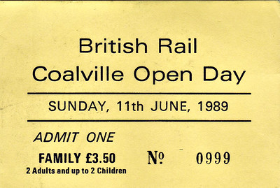 OPEN DAY - COALVILLE FREIGHT DEPOT, 1989 (1) - Coalville Open Day ticket, Sunday June 11th, 1989. 33058 had worked in on HRT's 1Z38 'Coalville Cobbler' from Euston, worked back by 37504/37511.  Present were:-  Diesel  08788  20103, 20108, 20186, 20215  31456  33058  37065, 37235, 37504, 37511  47380, 47522  56015, 56019, 56062  58025, 59050  97204, 97561  D100 SHERWOOD FORESTER  D212 AUREOL  D7671 D9000 ROYAL SCOTS GREY D9015 TULYAR  Steam 'Jubilee' Class 4-6-0 45596 BAHAMAS  Class 4P 2-6-4T 80080