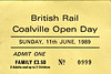 OPEN DAY - COALVILLE FREIGHT DEPOT, 1989 (1) - Coalville Open Day ticket, Sunday June 11th, 1989. 33058 had worked in on HRT's 1Z38 'Coalville Cobbler' from Euston, worked back by 37504/37511.<br /> <br /> Present were:-<br /> <br /> Diesel<br />  08788<br />  20103, 20108, 20186, 20215<br />  31456<br />  33058<br />  37065, 37235, 37504, 37511<br />  47380, 47522<br />  56015, 56019, 56062<br />  58025, 59050<br />  97204, 97561<br />  D100 SHERWOOD FORESTER<br />  D212 AUREOL<br />  D7671<br /> D9000 ROYAL SCOTS GREY<br /> D9015 TULYAR<br /> <br /> Steam<br /> 'Jubilee' Class 4-6-0 45596 BAHAMAS<br />  Class 4P 2-6-4T 80080