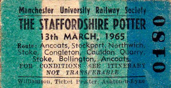 RAIL TOUR - 'THE STAFFORDSHIRE POTTER' - Run by Manchester University Railway Scoiety, this tour was hauled by 2-6-4T 42343 with 5 coaches,5MT 2-6-0 42938 taking over for the short Mancehster Piccadilly to Ashburys section. It ran as below:-  42343 - Ancoats Goods No.1 Siding - Ashburys - Ardwick - Belle Vue - Reddish North - Reddish Jn - Brinnington Jn - Stockport Tiviot Dale - Northenden - Skelton Jn -  Deansgate Jn - Altrincham - Northwich - Sandbach - Wheelock - Lawton Jn  - Kidsgrove Central - Harecastle Tunnel - Kidsgrove Central -   Kidsgrove Jn - Kidsgrove Liverpool Road - Burslem - Etruria - Stoke-on-Trent - Milton Jn - Congleton Lower Jn -  Congleton Brunswick Wharf  -  Congleton Lower Jn -  Milton Jn - Heaths Jn - Milton Jn - Leek Brook Jn - Caldon Low Quarry - Leek Brook Jn - Milton Jn - Stoke-on-Trent - Longport - Macclesfield  - Stockport Edgeley - Manchester Piccadilly [P12]  42938 Manchester Piccadilly [P12] - Ardwick Goods loop - Ashburys  42343  Ashburys - Ancoats Jn - Ancoats Goods