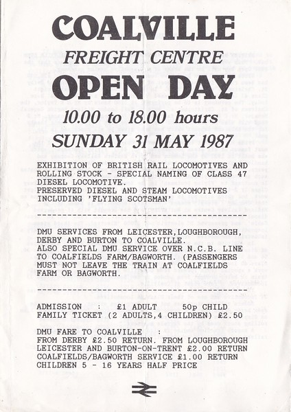 OPEN DAY - COALVILLE FREIGHT DEPOT, 1987 (2) - Front page on the Souvenir Programme of the May 31st, 1987, Open Day.