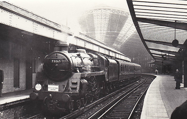 RAIL TOUR - 'WEST COUNTRY SPECIAL' - orgaised by the Southern Counties Touring Society and run on November 13th, 1966. 73065 is seen here at Victoria about to depart. The tour ran as follows:-  73065 - London Victoria - Factory Jn - Herne Hill - Tulse Hill - Crystal Palace - Norwood Junction - East Croydon - Redhill - Shalford Jn - Guildford - Wokingham - Reading General - Newbury - Westbury 34019 - Westbury - Castle Cary - Exeter St Davids - Exeter Central - Yeovil Junction 35023 - Yeovil Junction - Salisbury - London Waterloo