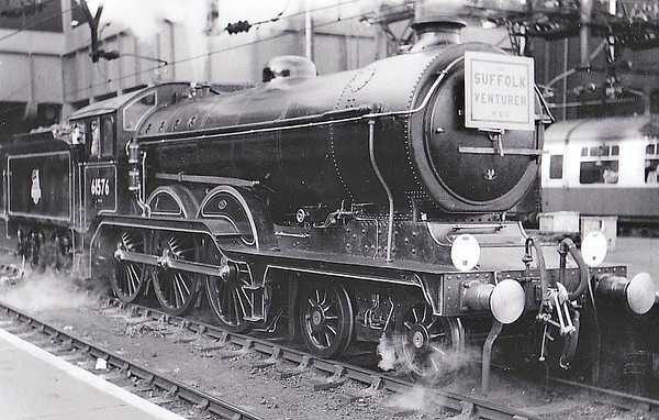 RAIL TOUR - 'SUFFOLK VENTURER' - organised by the Rail Enthusiasts Club and run on September 30th, 1956. 61576 is seen here at Liverpool Street prior to starting the tour. It ran as follows:-  61576 - London Liverpool Street - (via GEML) - Colchester 62797 - Colchester - Manningtree - Bentley - Capel - Hadleigh - Capel - Bentley - Ipswich - East Suffolk Jn - Westerfield - Snape Jn - Snape - Snape Jn 65447/62797 - Snape Jn - Saxmundham - Darsham - Halesworth - Beccles (65447 was added at Snape Junction due to the failing health of 62797). 65447 - Beccles - Bungay - Tivetshall - Diss - Mellis - Eye - Mellis - Haughley - Ipswich 61576 - Ipswich - (via GEML) - London Liverpool Street