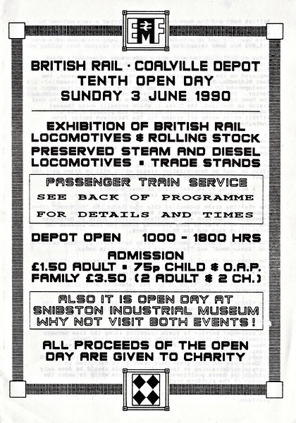 OPEN DAY - COALVILLE FREIGHT DEPOT, 1990 (2) - Front page of the Souvenir Programme.