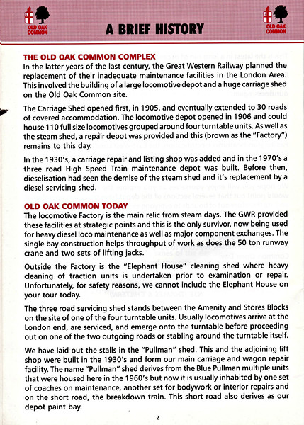 OPEN DAY - OLD OAK COMMON DIESEL DEPOT, 1991 (3) - A brief history and explanation of the depot's facilities and role as in 1991.