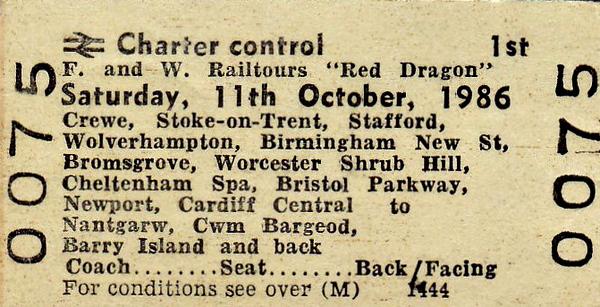 RAIL TOUR - 'RED DRAGON' - Ran on October 11th, 1986, organised by F & W Rail Tours, as follows:-  47638 - Crewe - Stoke-on-Trent - Stafford - Wolverhampton  - Birmingham New Street - (via Camp Hill line) - Worcester - Cheltenham -  Bristol Parkway - Cardiff  37699 - Cardiff - Barry -   Aberthaw MGR Siding - Barry - Penarth North Curve Jn - Radyr - Nantgarw  37697 - Nantgarw - Radyr - Cardiff Queen Street - Cardiff  Central - Grangetown - (near) Dingle Road  37699 - (near) Dingle Road - Cardiff Central - Cardiff Queen Street -Ystrad Mynach South Jn -  Cwmbargoed - Ystrad Mynach South Jn -  Cardiff - Penarth  37503 - Penarth - Cardiff Central  47638 Cardiff - Newport - Llanwern and Bishopton Flyover - Bristol Parkway - Gloucester Birmingham New Street - Wolverhampton - Stafford - Stoke-on-Trent - Crewe.