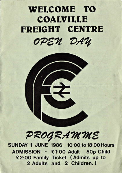 OPEN DAY - COALVILLE FREIGHT DEPOT, 1986 (1) - Cover of the Souvenir Programme from the Open Day on Sunday, June 1st, 1986. I like the logo - very clever. <br /> <br /> Present were:-<br /> <br /> Diesel<br />  20065, 20077, 20142<br />  25912<br />  31123<br />  37146<br />  40122<br />  45040, 45121<br />  47409, 47628<br />  50007 SIR EDWARD ELGAR<br />  55015 TULYAR<br />  56060<br />  58012, 58014, 58028, 58032, 58040<br />  97201, 97403<br />  D4 GREAT GABLE<br /> <br /> Steam<br />  'Jubilee' 4-6-0 5593 KOLHAPUR<br /> S&D 2-8-0 53809<br /> Ex-NCB CADLEY HILL No.1<br /> <br /> DMU<br />  Class 128 DPU 55995<br /> Class 151 'Sprinter'.