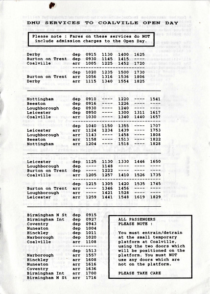 OPEN DAY - COALVILLE FREIGHT DEPOT, 1990 (4) - Timetable for the special trains laid on for the Open Day, all run by DMU. Two of those used were Class 116 53053/59672/53101  and Class 108 51905/54488.