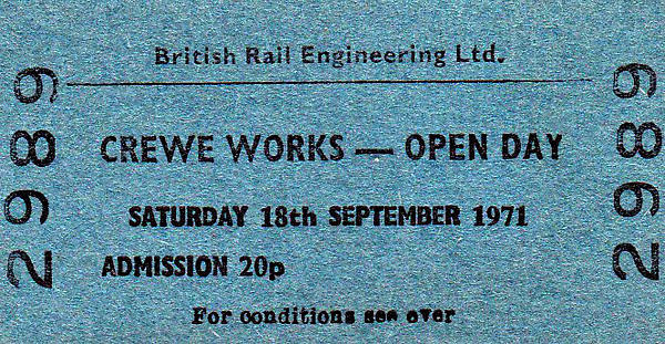 OPEN DAY - CREWE WORKS, 1971 - Open Days were held quite frequently at Crewe Works and, on any Saturday afternoon, for just a few pence, it was possible to go round anyway, supposedly accompanied by the gateman but often not! The event was held on Saturday, September 18th, 1971, really quite early on in the history of such occasions and was no doubt very well attended. Note that no effort has been made to arrange 'special attractions' - this trend became commonplace much later.<br /> <br /> Locos present were:-<br /> <br /> Diesel<br /> 201, 224, 226, 229, 247, 252, 254, 261, 267, 270, 285, 297, 302, 305, 324, 325, 331, 370, 382, 385, 389 (Class 40)<br /> 405, 406, 407, 416, 437, 442, 443, 447 (Class 50)<br /> 1101, 1102, 1103, 1107, 1109, 1110, 1111, 1517, 1521, 1522, 1529, 1541, 1562 cab only , 1573, 1583, 1587, 1608, 1634, 1642, 1643, 1654, 1659, 1676, 1716, 1724, 1731, 1765, 1822, 1837, 1859, 1864, 1868, 1871, 1876, 1916, 1936, 1941, 1947, 1961, 1965, 1966, 1974, 1975, 1999 (Class 47)<br /> 3068, 3095, 3467, 3868, 3984 (Class 08)<br /> 5038 (Class 24)<br /> 6879, 6944, 6955, 6976, 6977 (Class 37)<br /> 8046, 8054, 8133, 8146, 8150, 8165 (Class 20)<br /> <br /> Electric<br /> E3005, E3018, E3019 (Class 81)<br /> E3046, E3049, E3050, E3051, E3055 (Class 82)<br /> E3060, E3077 (Class 85)<br /> E3106, E3116, E3118, E3122, E3127, E3144, E3146, E3161, E3170, E3173, E3184, E3188, E3191, E3200 (Class 86)<br /> E6101 (Class 74).