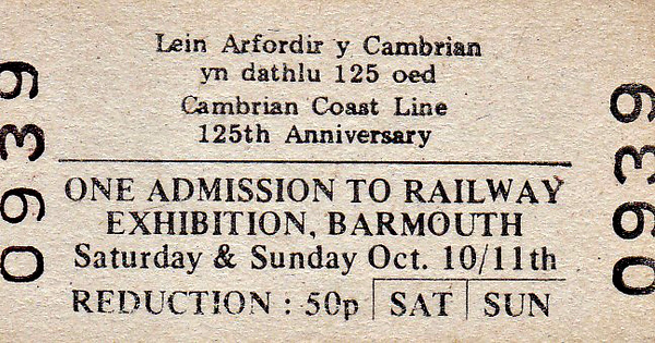 OPEN DAY - BARMOUTH, 1992 - Exhibition held at Barmouth Station over the weekend of October 10/11th, 1992, to celebrate 125 years of the Cambrian Coast Line. I have been unable to find any details of what was on display.
