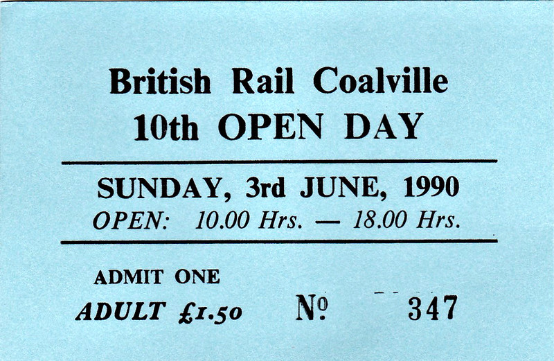 OPEN DAY - COALVILLE FREIGHT DEPOT, 1990 (1) - Ticket for the 10th and penultimate Coalville Open Day on Sunday, June 3rd, 1990. 58045 worked in on HRT's 'Coalville & Calverton Caboodle' Tour, taken on from Coalville by 56078. RES liveried 47489 was named CREWE DIESEL Depot on the day.<br /> <br /> Present were:-<br /> <br /> Diesel<br /> 09013<br /> 20088<br /> 26005<br /> 31101<br /> 33050<br /> 37513, 37517, 37800<br /> 45133<br /> 47401 (D1500), 47489, 47971 ROBIN HOOD<br /> 55015 TULYAR<br /> 56078<br /> 58045, 58049<br /> 97403 IXION<br /> D7076<br /> D5054<br /> D9016 GORDON HIGHLANDER<br /> D306<br /> D5410<br /> D7672<br /> <br /> Electric<br /> 90019<br /> <br /> Steam<br />  'Princess' Class 4-6-2 46203 PRINCESS MARGARET ROSE<br /> <br /> Other<br /> MLV 9001 (68001)