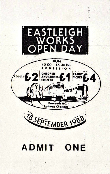 OPEN DAY - EASTLEIGH WORKS, 1988 - September 18th, 1988. This event must have been fairly well contained to prevent people walking onto the third rail! Someone really went to town on the tickets, didn't they! I have no record of the units present, but several 'guest' locos were on show. Who could have guessed that within a decade Class 58's would be common sight at Eastleigh?<br /> <br /> Locos present were:-<br /> <br /> Diesel<br />  08642/760/892/940<br />  09006/007/015<br />  25244<br />  33008/010/028/033/049/052/053/058<br />  33114<br />  47220<br />  56045<br />  58050 <br />  59002<br />  73004/104/114/135/138/211<br /> <br /> Steam<br /> Class S15 4-6-0 828<br /> 'Merchant Navy Class 4-6-2 35028 CLAN LINE<br /> 'Merchant Navy Class 4-6-2 35027 PORT LINE
