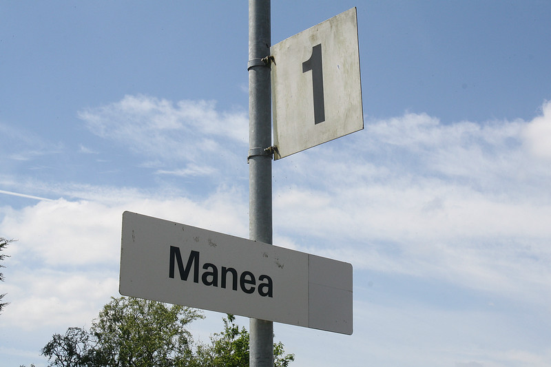 MANEA -  That's just about all the station signage there is. The platforms are too short to take much more! Note that this is an old Provincial Railways sign with the logo painted out. 09/05/18.