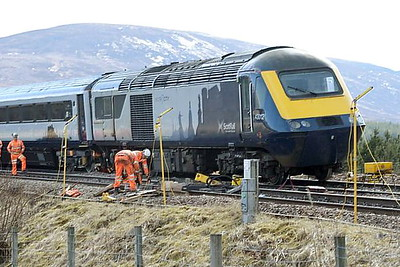 DALWHINNIE - At about 0300 on April 10th, 2021, ScotRail HST set HA19 composed of power cars 43012 and 43015 and 5 coaches, derailed at the south end of Dalwhinnie Station. The train was a test train being manned by the Rail Operations Group carrying out clearance tests on the line from Perth, so there were no passengers on board. As the train passed over a set of crossovers at a speed of 33mph, the rear coach and power car, 43012, derailed. Permitted speed on this crossover is 15mph and it is not permitted to be used in this direction. Both sets of points changed although the signals were not pulled off and all instruments in the signalbox indicated that they had not been changed. There was not much damage to the train and it was rerailed and returned to Haymarket Depot on April 18th after RAIB investigations. To enable the line t be reopened quickly, the damaged crossover was removed and replaced with plain track, the line reopening on April 15th.