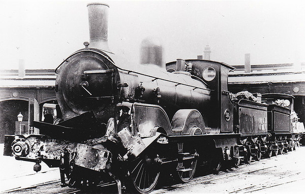 528 - Adams LSWR Class A12 Jubilee 0-4-2 - built 1887 by Nine Elms Works - 1929 withdrawn - seen here with front end damage.