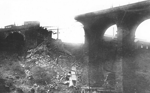 PENISTONE, February 2nd, 1916 - A Lancashire & Yorkshire Railway 2-4-2T locomotive, No. 661, was standing when the end of the viaduct and the embankment subsided below it. The collapse was slow and the crew jumped to safety before the arch fell down. The cause of the collapse was stated to be scouring of the foundations after prolonged heavy rain; the parapet of the viaduct had been observed to be cracked some days earlier. The loco proved impossible to recover and so was cut up in situ and a replacement built with the same number.