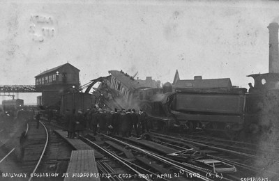 HUDDERSFIELD - On April 21st, 1905, as the Lancashire and Yorkshire 2.20 p.m. train from Mirfield was arriving at Huddersfield Station on the up south line, it was run into by a London and North Western engine with two empty coaches and a van, which had started in error from the up main line in the station. Two passengers of the Lancashire and Yorkshire train were killed and nine injured, and the driver and fireman of the Lancashire and Yorkshire engine and the London and North Western fireman and the shunter were also injured.