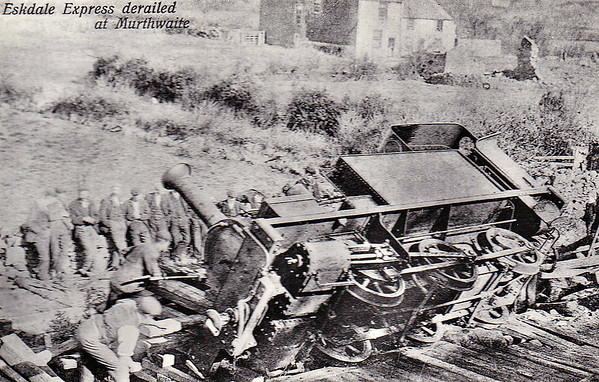 RAVENGLASS & ESKDALE RAILWAY - DEVON - 0-6-0T built 1875 by Manning Wardle & Co., Works No.545 - 1913 withdrawn on re-gauging, 1915 scrapped - seen here derailed at Murthwaite Halt in 1905. Apparently, at this time, only DEVON was operational carrying the boiler of NABB GILL.