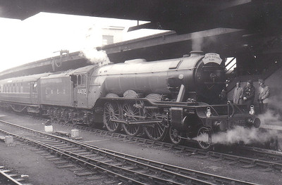 4472 FLYING SCOTSMAN - Gresley LNER Class A3 4-6-2 - built 02/23 by Doncaster Works as GNR No.1472 - 03/24 to LNER No.4472, 05/46 to LNER No.103, 03/48 to BR No.60103 - 01/63 withdrawn from 34A Kings Cross - preserved - seen here at York on the Doncaster - Darlington leg of the Gresley Society 'London - North Eastern Flyer' on May 2nd, 1964.