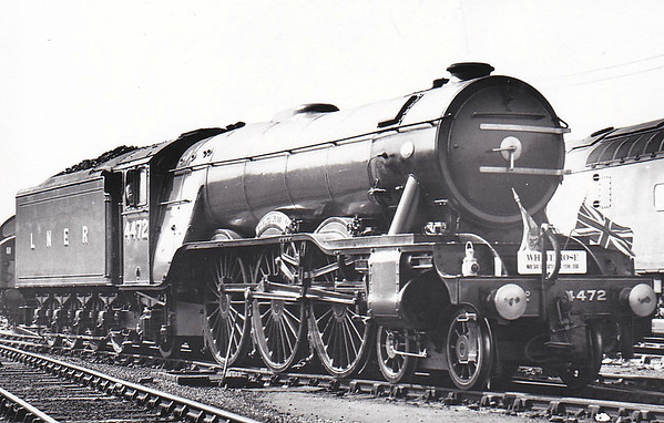 4472 FLYING SCOTSMAN - Gresley LNER Class A3 4-6-2 - built 02/23 by Doncaster Works as GNR No.1472 - 03/24 to LNER No.4472, 05/46 to LNER No.103, 03/48 to BR No.60103 - 01/63 withdrawn from 34A Kings Cross - preserved - seen here at York after arriving on the 'White Rose' Special from Kings Cross on May 1st, 1966.