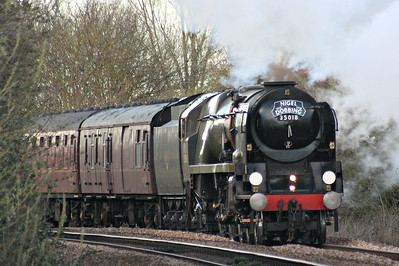 35018 BRITISH INDIA LINE - Bulleid SR 'Merchant Navy' Class 4-6-2 - built 05/45 by Eastleigh Works as SR No.21C18 - 05/48 to BR No.35018 - 08/64 withdrawn from 70A Nine Elms - approaches Badgeney Road AHB on 1Z68 Melton Mowbray - Kings Lynn 'Nigel Dobbing Memorial Train', in memory of the managing director of the RTC, 17/03/19.