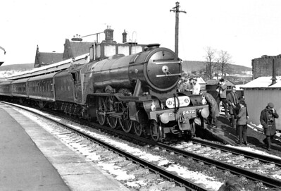 4472 FLYING SCOTSMAN - Gresley LNER Class A3 4-6-2 - built 02/23 by Doncaster Works as GNR No.1472 - 03/24 to LNER No.4472, 05/46 to LNER No.103, 03/48 to BR No.60103 - 01/63 withdrawn from 34A Kings Cross - preserved - seen here at Penrith on the SLS/MLS 'Lakes & Fells Rail Tour' on April 2nd, 1966. 4472 worked from Hellifield to Penrith and then from Arnside  back to Hellifield.