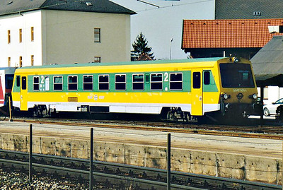 GYSEV - 5047 501 - 2 single railcars built in 1995, similar to OBB Class 5047 - on depot at Bruck-am-der-Leitha, 13/03/07. edit