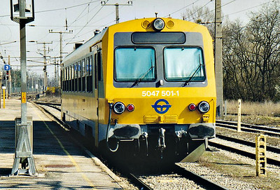 GYSEV - 5047 501 -  2 single railcars built in 1995, similar to OBB Class 5047 - departs Platform 3 at bruck-am-der-Leitha on the 1342 to Eisenstadt, 13/03/07.