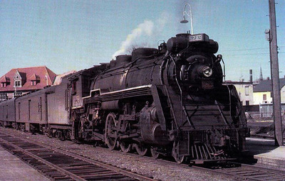 CANADIAN NATIONAL RAILROAD - 5289 - a 2-8-2 loco waits to depart from the Grand Trunk Station at Portland, Maine, in 1956.
