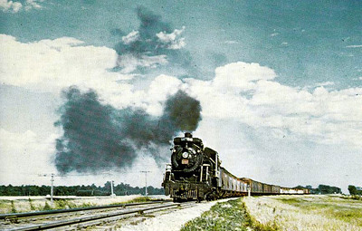 CANADIAN NATIONAL RAILROAD - 5145 - is seen here on a freight train west of Winnipeg, Manitoba, in 1959.