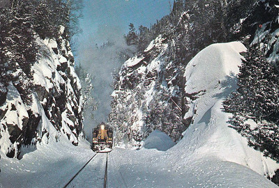 ALGOMA CENTRAL RAILWAY - operates between Sault Ste Marie and Hearst in Northern Ontario, an area of wilderness sparsely populated, virtually roadless and much loved by winter sportsmen. The railway is now part of the Canadian National Railroad.