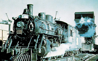 CANADIAN NATIONAL RAILROAD - 1389 - a 4-6-0 loco sits on shed at Fort Rouge, Manitoba, in 1959.