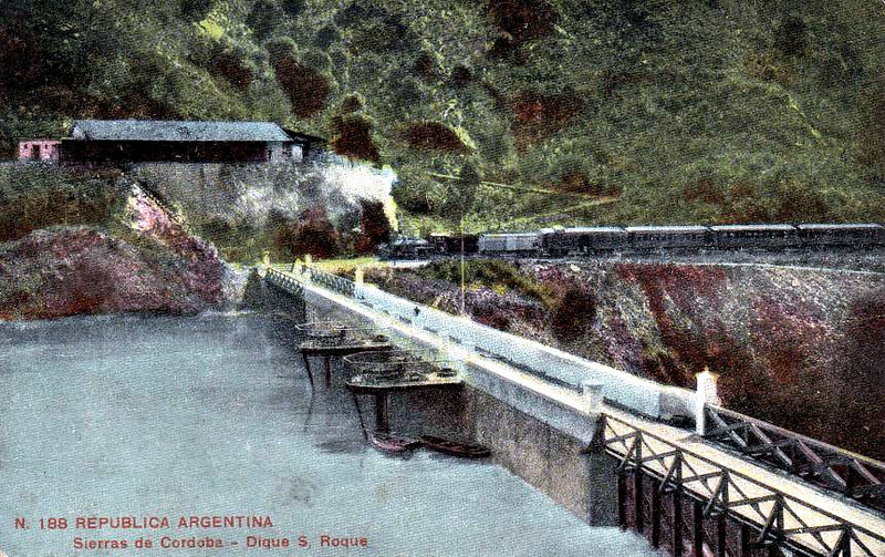 ARGENTINA - a train approaches the San Roque Dam in the Sierras de Cordoba in about 1910,