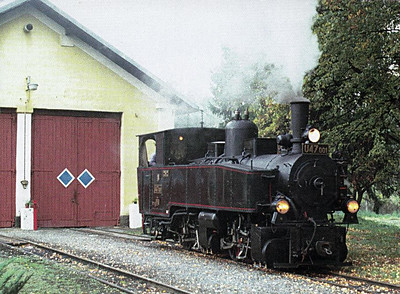 CZECH REPUBLIC - CD - U47 001 - the JHMD's 0-4-4-0T Mallett, is on a visit to the last CD 760mm line from Tremesna ve Slezku to Osoblaha, seen here outside the locomotive depot at Osoblaha. This line is laid with second-had CWR from CD mainlines.