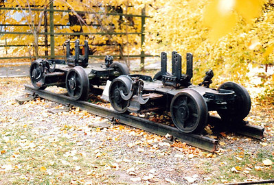 CZECH REPUBLIC - CD - TREMESNA VE SLESKU - transporter bogies for carrying standard gauge wagons, plinthed, 26/10/05.