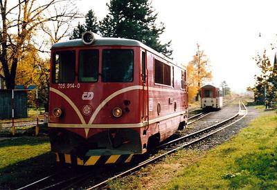 CZECH REPUBLIC - CD - 705 914 - 21 DE 760mm gauge locos built 1954/55 by CKD - 12 still in traffic (4CD, 8JHMD) - runs round train 20607, 1152 from Tremesna ve Slesku, at Osoblaha, 26/10/05.