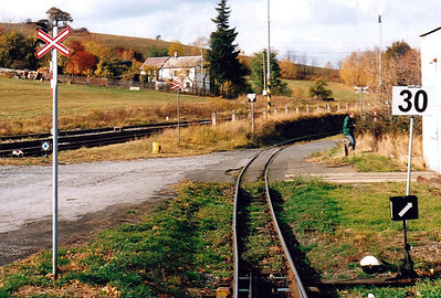 CZECH REPUBLIC - CD - TREMESNA VE SLESKU - the view from the rear of the train as we approach Tremesna, the standard gauge tracks on the left, 26/10/05.
