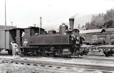CZECHOSLOVAKIA - U37 002 - 760mm gauge 0-6-2T, one of 12 similar engines built in the 1890's by Krauss in Linz. This engine was built in 1898 and served on the JHMD system, where it is seen at Ruzomberok, now in Slovakia, in July 1958. The loco was then moved to Stlavnicka on the CHZ in Slovakia as a stationary boiler, from where it was rescued and is now preserved.
