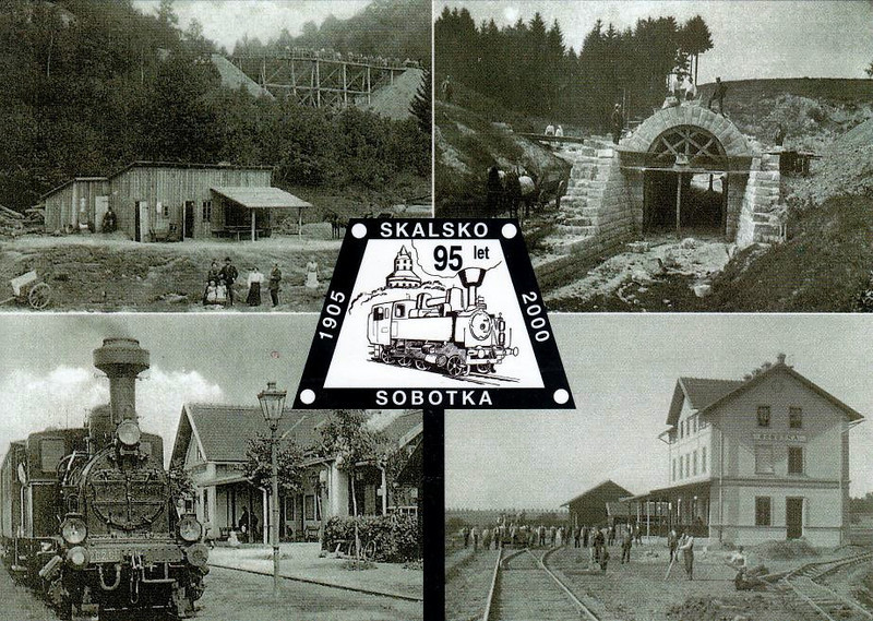 AUSTRIA HUNGARY - 95th ANNIVERSARY OF THE SKALSKO-SOBOTKA LINE - top left: an engineering train between Skalsko and Katusice during building of the line -  top right: a culvert being built at Km 3.56 - bottom left: Bukovno Station hosts a train from Melnik to Mseno - bottom right: the incomplete station at Sobotka.