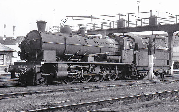 SNCF - 140C 267 - CF d'Etat 2-8-0 - built 1916 by Nasmyth Wilson & Co., Works No.1136 - withdrawn late 1960's/early 1970's - seen here at Saintes with tender cab in November 1964.