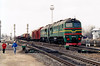 LDZ - 2M62 0113 - 40 'Double Sergei' locomotives built by Lugansk from 1976 - heads for Duagavpils with a mixed freight at Krustpils, 07/04/06.