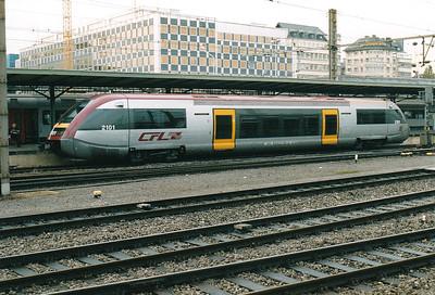 CFL - 2101 - 6 SNCF Class X73500 single railcars built 2000 for  Luxembourg-Kleinbettingen, Kautenbach-Wiltz, Noertzange-Rumelange & Bettembourg-Dudelange services - sold to SNCF(TER) in 2005 - seen here at Luxemburg on the hourly service to Dudelange Usines, 29/10/03.