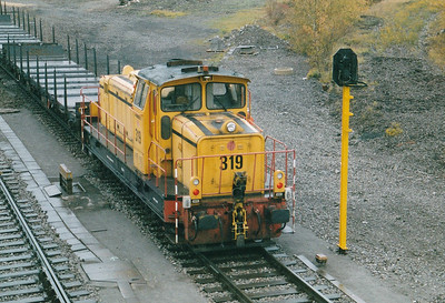INDUSTRIAL - ARBED - 319 - 19 Bo-Bo heavy shunters built 1966 by MaK, fitted for ground control, taken over by CFL subsequently - shunting in the yard at Belval Usines, 29/10/03. If it look as though there is no onw in the cab, it's because there isn't! He's behind the loco with his X-box.