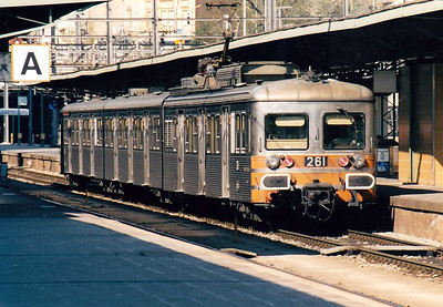 CFL -  261 -  Class 250 3-car 25kv AC EMU - exSNCF Z6168, bought 1982 for Luxemburg - Petange electrification, used on suburban services south of Luxemburg - all withdrawn by 12/05 - seen here at Luxemburg Station having just terminated on a local service, 16/04/03.